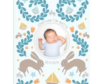 Customized Newborn Nursery Art Print Baby Blue Pink Girl Boy Cute Wall Decor Gift Ideas