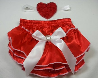 Christmas Diaper Cover/Headband Set, Red Satin Ruffled Diaper Cover with White Bow with Rhinestone Embellishment and Matching Heart Headband