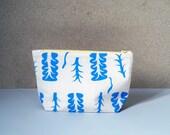 Zipper Pouch // Silkscreen // Blue Plant // 20 cm zip