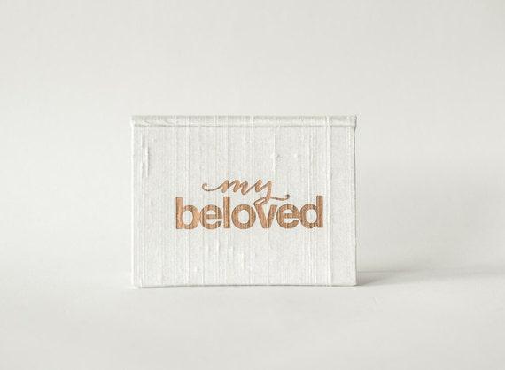 Vow Holder™ Wedding Vow Book - Pocket-sized My Beloved Silk Folio Vow Keepsake - Gold Foil Wedding Vow Holder