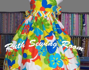 Lilo and Stitch Dress, Tropical Flower Dress, Hawaiian Inspire,   Beach Summer Dress, Halter Dress Spring, Disney Vacation, Birthday Party