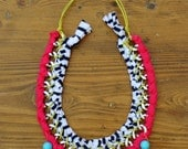 statement chain necklase in hot pink,turquoise and white navy stripe yarn
