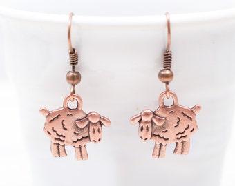 Earrings, Fairy Jewelry, Sheep Earrings, Antiqued  Copper Earrings,  Year of the Sheep 2015, Steampunk,