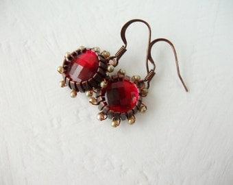 Boho Chic Red Earrings. Red Crystal Jewelry. Crystal Earrings with Copper Earwires. Dangle Earrings. Romantic Rhinestone Jewelry Dangles