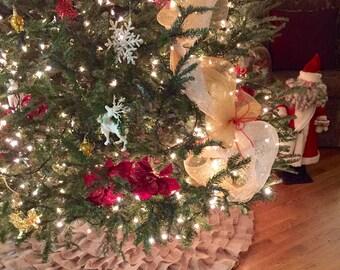 "Sewn Burlap 60"" Handmade Ruffle Tree Skirt"