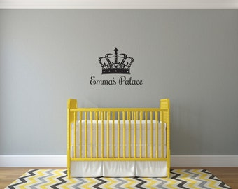 Personalized Custom Crown with Name or Title  - Vinyl Wall Decal Sticker