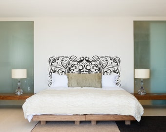 Ornate Swirl Headboard Royal Bed Frame Bedpost - Wall Decal Custom Vinyl Art Stickers