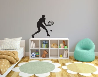 Tennis Player Silhouette Sports - Wall Decal Custom Vinyl Art Stickers