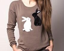 sweater, bunnies, rabbit sweater, appliqued sweater, beige sweater, sweatshirt, handmade sweater, unique gift, spring sweater, clothing