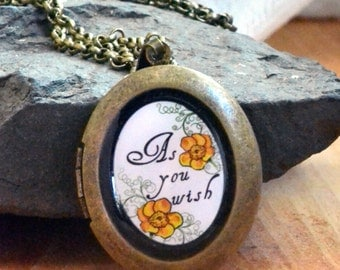 as you wish locket, girlfriend locket for her, buttercup locket, anniversary