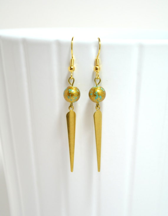 Gold & Blue Earrings with Gold-tone Spikes