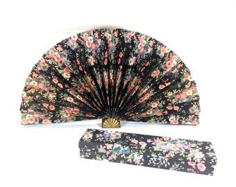 20 SALE -- Vintage Floral Fan - Large Vintage Fan - Vintage Wedding - Home Decor - Vintage Decoration - Floral Box