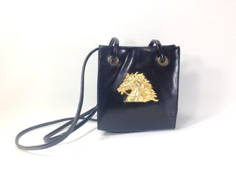 Vegan Leather Bag with Gold Horse Medallian - Equestrian Bag - Horse Lover Purse - Black Vegan Leather Shoulder Bag