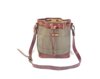 POLO Ralph Lauren Bag - Leather Bucket Bag - Plaid Leather Bucket Bag - Vintage Polo Satchel - Leather Cinch Bucket Bag