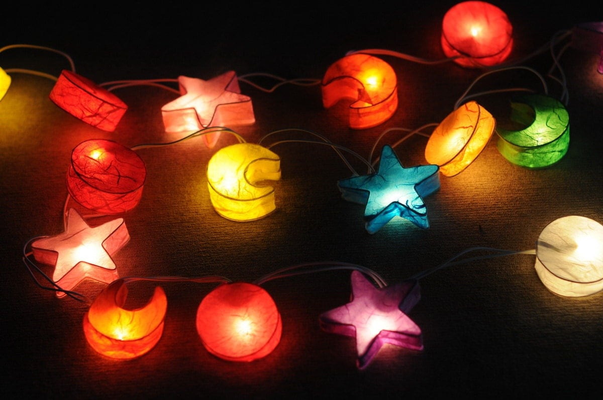 Star Moon String Lights : Star Moon light galaxy space room decor paper by cottonlight