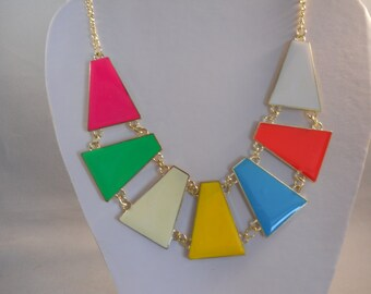 Bib Necklace with Gold Tone and Bright Colors Pendants on a Gold Tone Chain