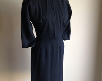 60s Fred Rothschild Black Wool Knit Classic Winter Dress