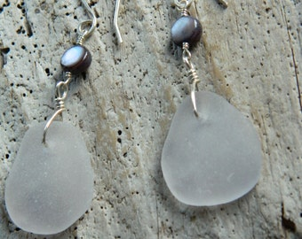 Genuine Lavender Sea Glass and River Shell Earrings