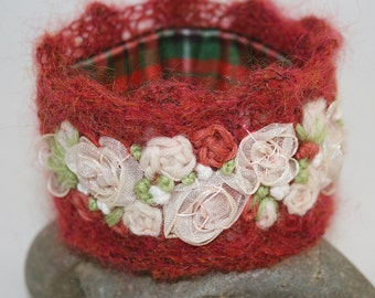 Embroidered Rose Garland Cuff - Ivory Roses on Knitted Mohair  Lace stitched by Lynwoodcrafts