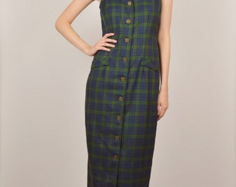 15% OFF 90s Plaid Grunge Midi Dress