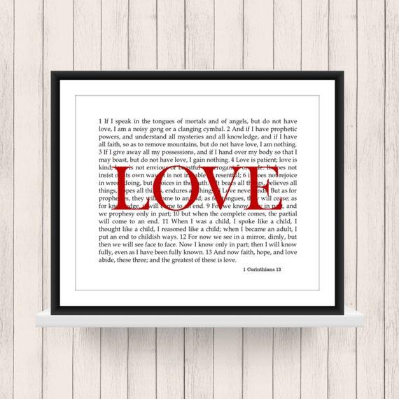 wall art 1 corinthians 13 love scripture digital download. Black Bedroom Furniture Sets. Home Design Ideas