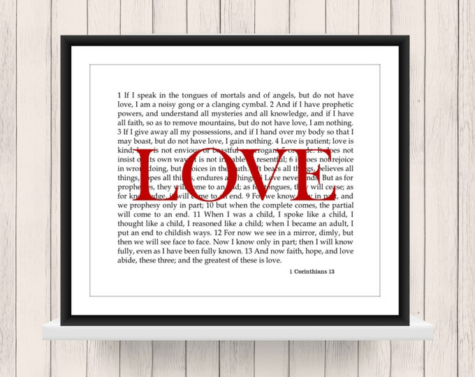 Wall Art 1 Corinthians 13  Love Scripture   Instant Download 8x10