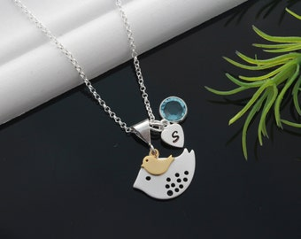 Bird Necklace, Mother and Son, Sweet Mother and Daughter Bird Necklace Personalize Charms, Two tones necklace, Mother and Kid