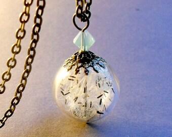 Rare wildflower dandelion necklace,  botanical jewelry, terrarium necklace, glass jewelry,  make a wish necklace