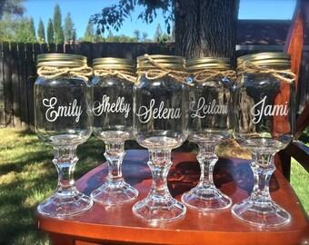 12 Redneck Wine Glass, mason jar wedding, wine glasses