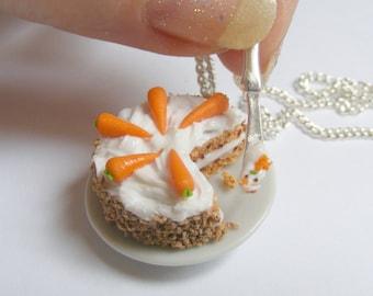 Food Jewelry Carrot Cake Necklace, Carrot and Walnut Cake Pendant, Miniature Food Jewelry, Mini Food Jewellery, Food Necklace Kawaii Jewelry