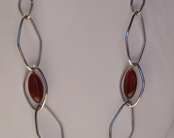 Simona Collini Carnelian and Stainless Steel Geometric Necklace Made in Italy