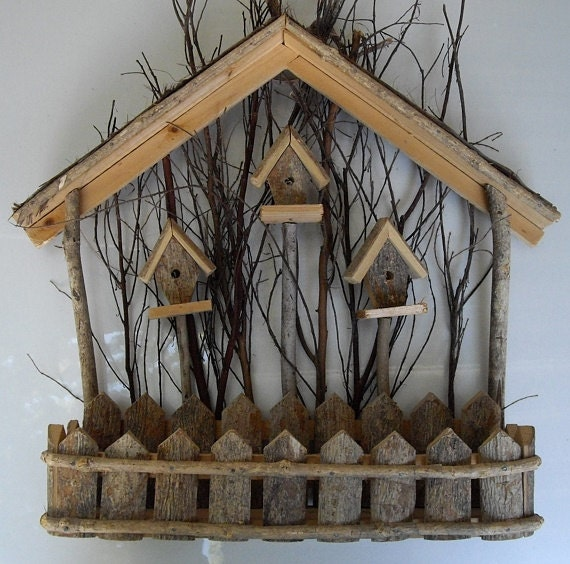 Rustic Antique Wall Decor : Rustic vintage wood birdhouse wall decor natural