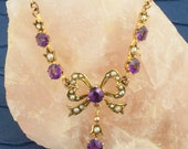 Antique Victorian 9 Karat Gold Amethyst And Seed Pearl Lavaliere Necklace- RESERVED