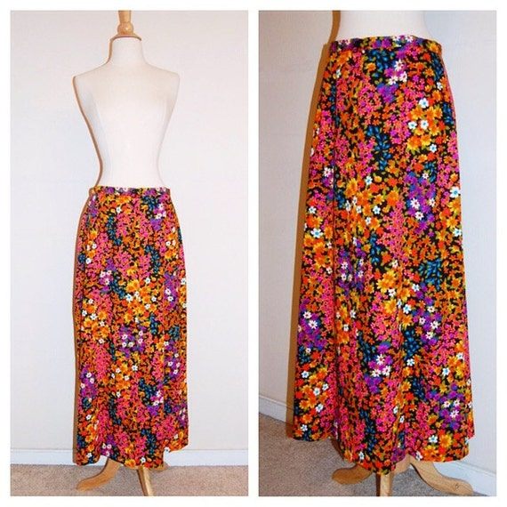 70s floral maxi skirt 1970s vintage by