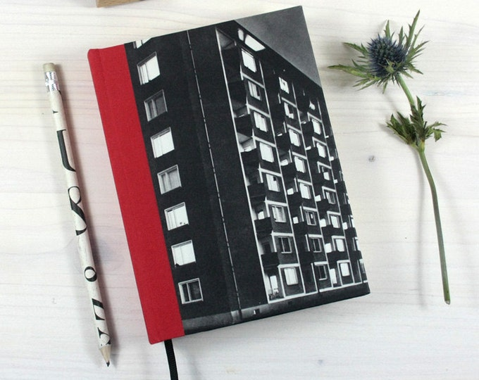 SALE% BOOK, Foto, facade, black and white, Bauhaus, 5x6,8 inch, 288 p., blank, travel journal, diary, notebook, vintage