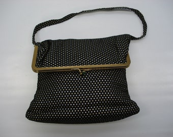 Sweet fold over bag - black fabric with gold thread dots