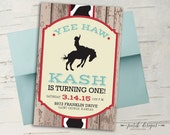 Cowboy Birthday Invitation || Rustic Wood, Cow Print, Saddle Bronc Rider, Bare Back Rider, Rough Stock, Red & Light Blue
