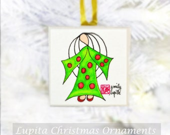 Christmas Ornament: ORIGINAL Watercolor Painting on Canvas - Unique Handmade One of a Kind Christmas Gift Christmas Tree Angel Decoration