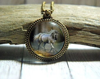 "1"" Round Glass Pendant Necklace or Key Chain  - White Unicorn in the Forest"