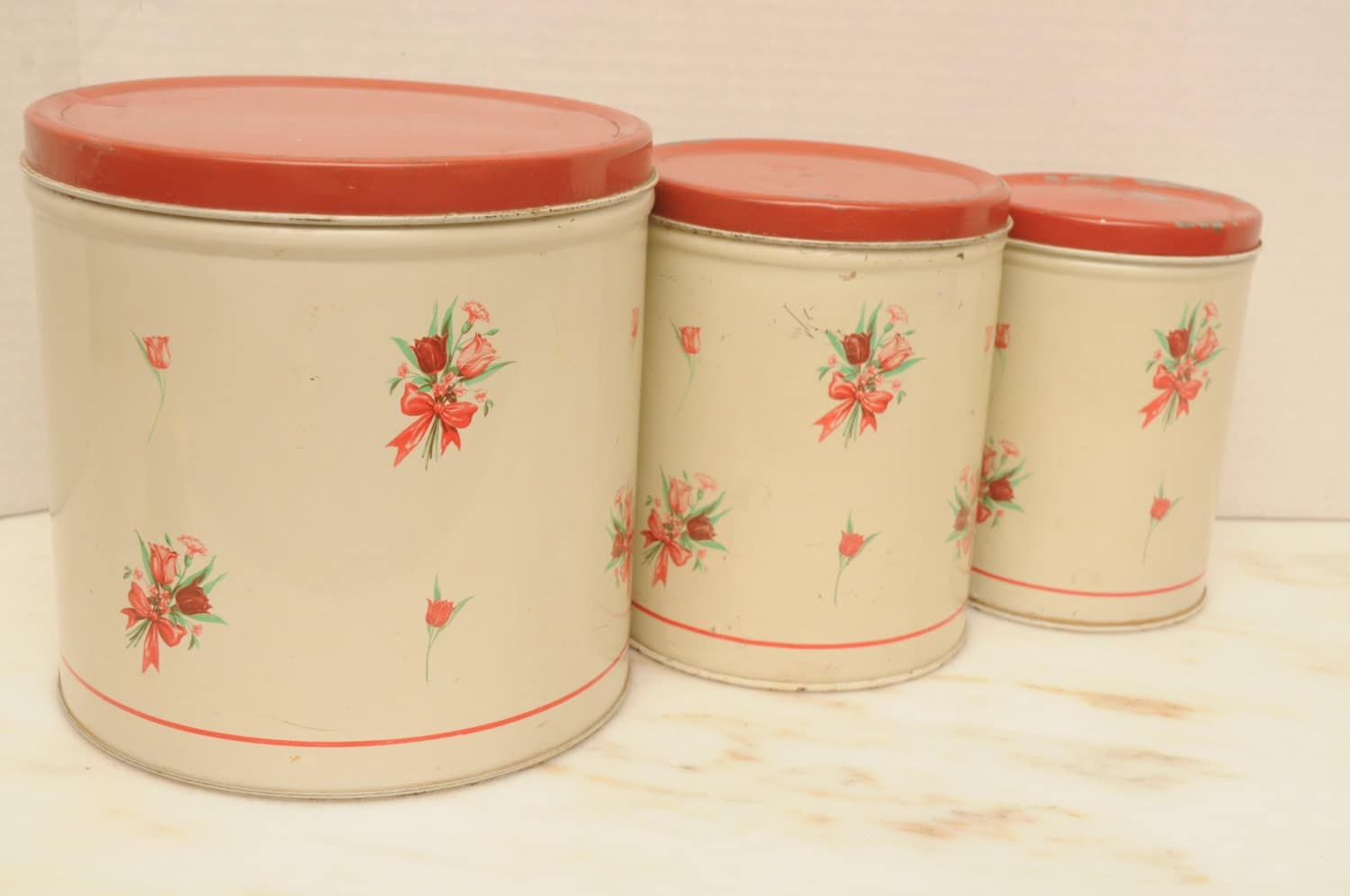 red floral metal kitchen canister set national can company