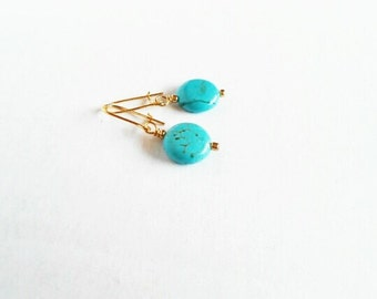 Gift for Mom Under 25,  Turquoise Earrings, December Birthstone Small Dangle for Her, Boho Jewelry