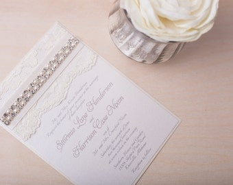 STORMIE: Pearl Crystal Lace Wedding Invitation, Cream Vintage Satin Ribbon Invitation, Shabby Chic Wedding Invitation