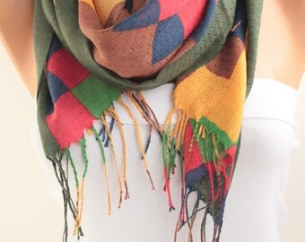 Multicolor Plaid Cotton Scarf Geometric Scarf Tassel Scarf Fashion Women Accessories Gift for her him