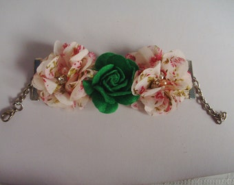 Flower Bracelet - Adjustable Cuff Bracelet - Pink & Green Bracelet - Spring/Summer Bracelet - Feminine Bracelet - Chiffon Bracelet