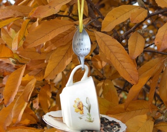 Tea Cup Bird Feeder with Hand Stamped Bent Spoon- BYE BYE BIRDIE- Perfect  fall/winter Gift