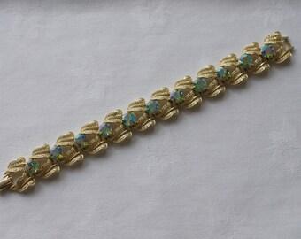 CORO AB Blue Rhinestone Leaf Link Bracelet 1960s Vintage