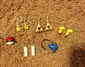 GIANT BUNDLE! Handmade Nintendo-Inspired Fashion Accessory Set. Includes 4 earrings + 2 charms. Mario, Zelda, Pokemon, Pikachu