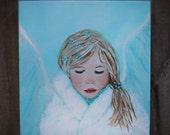 Original8 x 10 Child Angel Acrylic Painting-Inspirational -Children's Portrait-Nursery Room-Snow Angel, Earth Angel, Blue, Girl's room-Snow