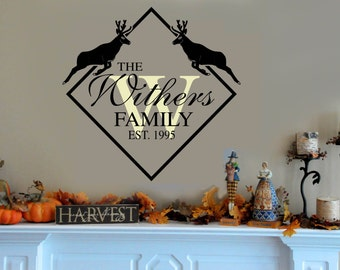 Family Last  Name Deer Wall Decal  -  Personalized Custom Family Name & Initial Monogram Decals - with Establised Year small medium Large