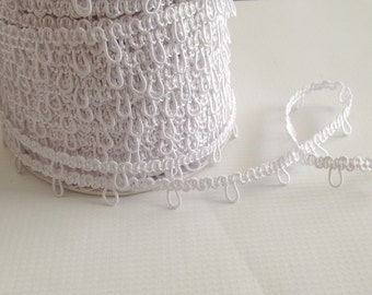 "White 1"" spaced Elastic Bridal Button Loops"